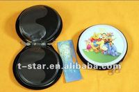 CD/DVD tin case with zipper and 12 pcs flock inside