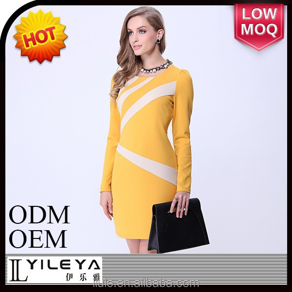 long sleeve yellow contrast color beautiful evening dress 20014
