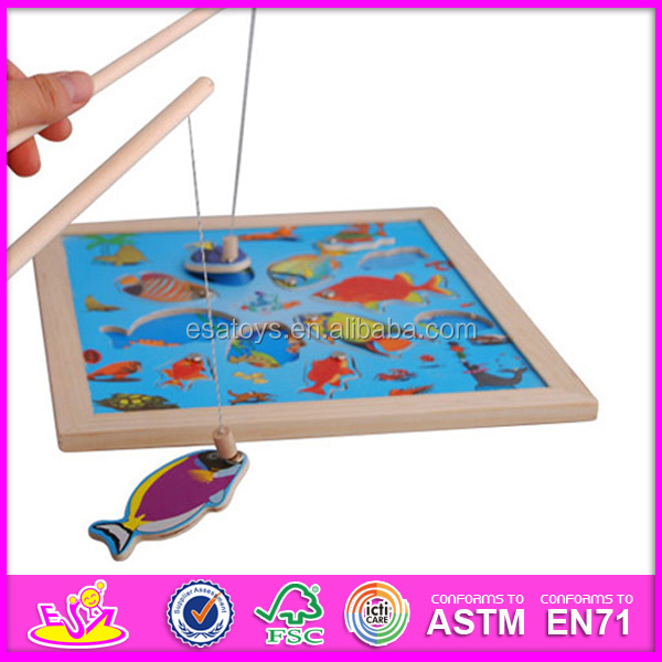 2015 New fishing toy for kids,Best selling wooden puzzle magnetic fishing toy for children,wooden fishing toy for baby W01A013