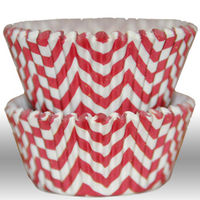 Chevron Zigzag Red Greaseproof Cupcake Liner Baking Cup