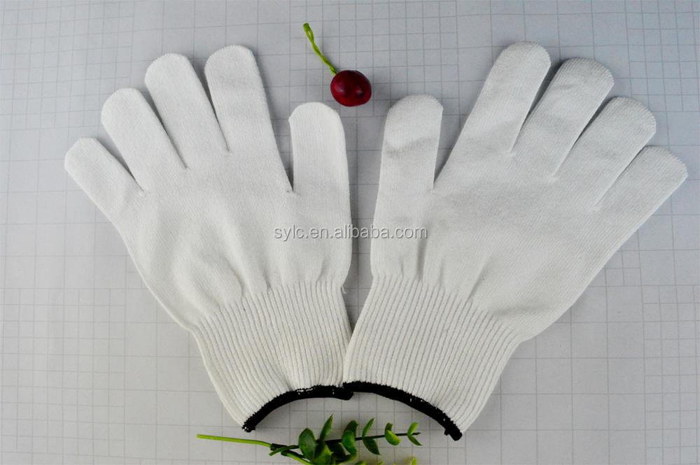 White HPPE glove safety working cut resistant gloves