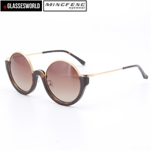 Fashion round men sunglasses with wholesale high quality acetate and metal women sun glasses