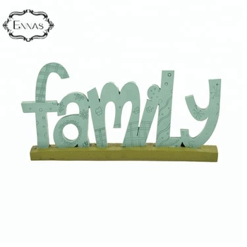 "Resin "" family "" words figurine statue for home decor"
