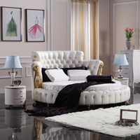 FO218 neoclassic round leather bed 2017 alibaba new chesterfield upholstery leather bed soft victorian bedroom furniture set