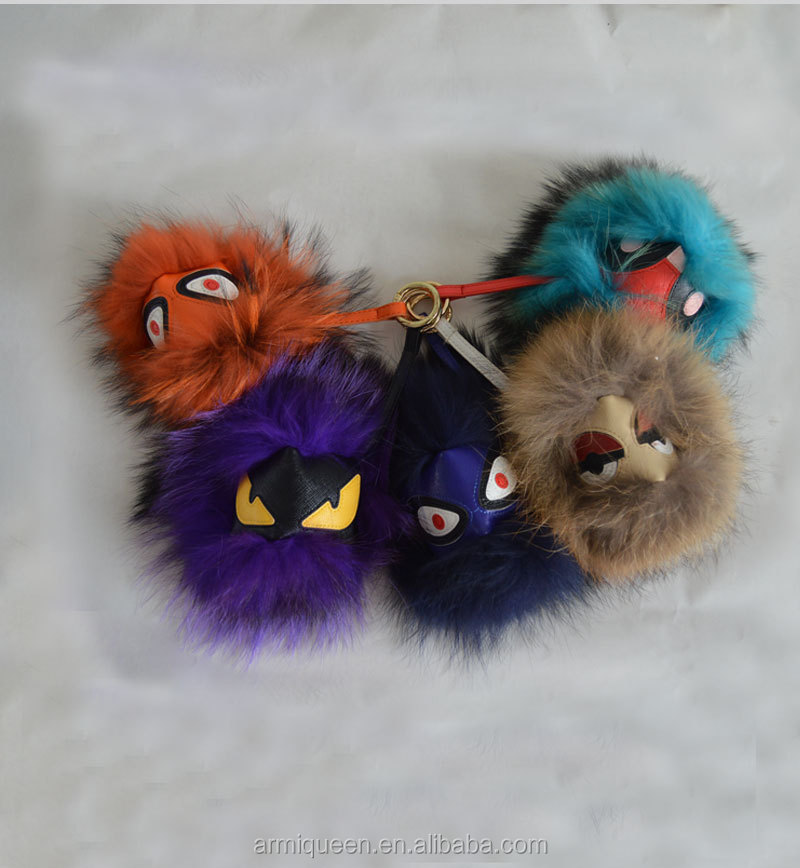 Little Monster Colorful Navy Dyed Color Diameter Raccoon Fur Pom Pon Key Ring