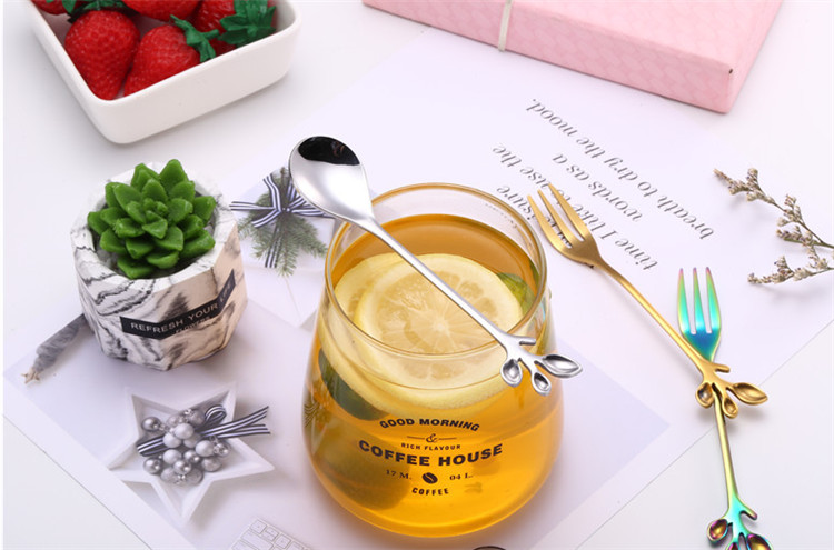 cute Leaf design stainless steel dinner  fork and spoon