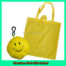2015 Newest Style Yellow Custom Polyester Eco Shopping Bag
