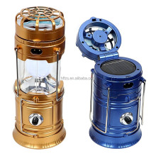 Solar Powered Rechargeable LED Camping Lantern With Fan USB Cell Phone Interface