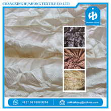 Polyester tricot knit crushed curtain fabric, popular african curtain fabric from china