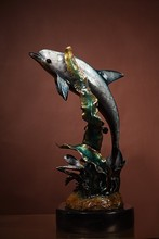 BFS-1404 indoor ornament bronze dolphin statue animal figurine for home