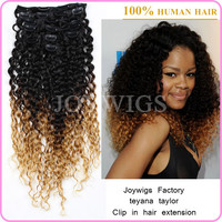 Joywigs factory tangle free cheap celebrity teyana taylor ombre kinky hair clip on extensions