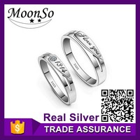 wholesale high quality MOONSO brand couple rings 925 sterling silver king and queen couple ring couple finger ring KR141S