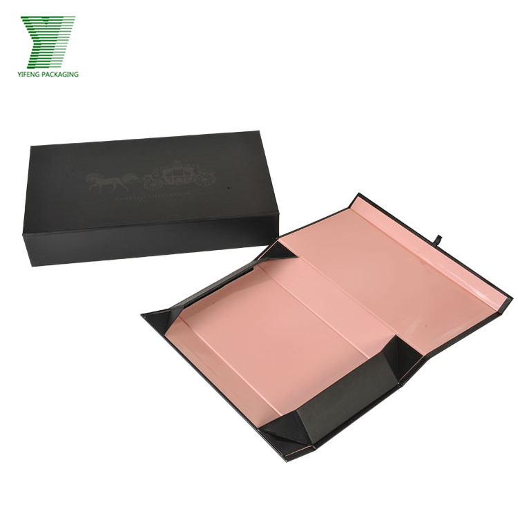 Flat Pack Folding Pink Black Magnet Closure Garment Clothing Apparel Box