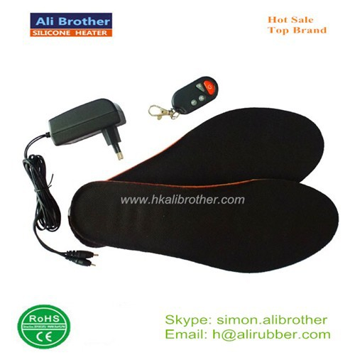 Battery Powered Foot Warmer Heated Shoe Insole With Remote Controller