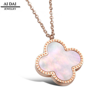 Leaf Lucky Clover women necklace stainless steel rose gold plated shell necklace
