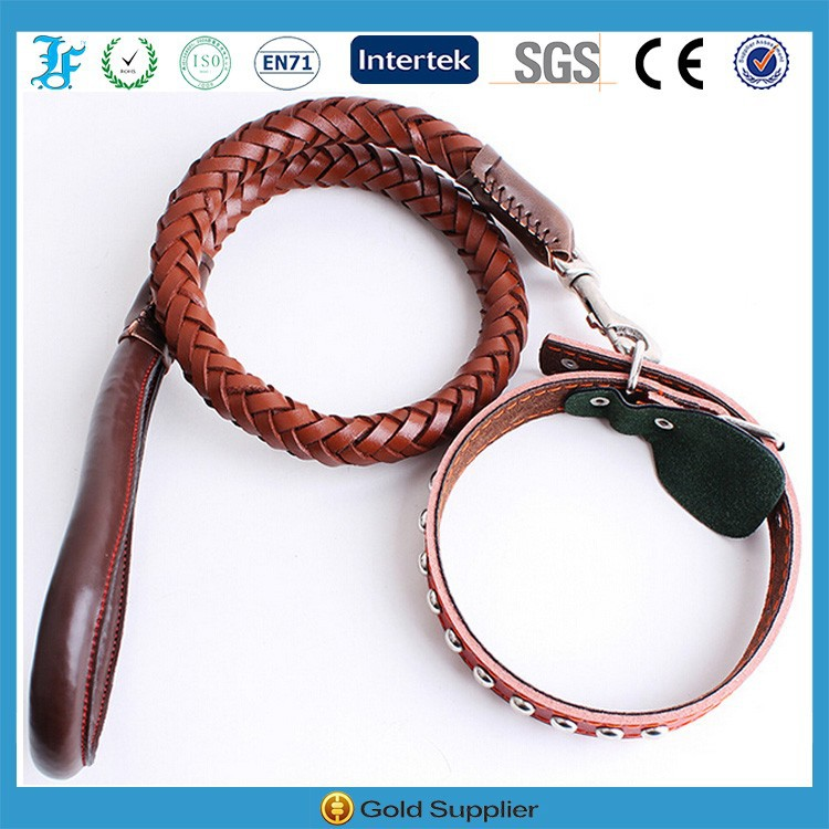 High Quality Leather Braided Leashes and Collar China Pet Prodcuts