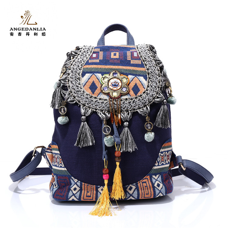 Factory direct sale bohemia ethnic style vintage <strong>backpack</strong>