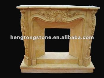 Italian Yellow Marble Fireplace With Floral Design
