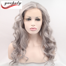 Cheap 24'' White People Blond Lace Front Synthetic Hair Wigs