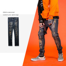 Men cotton ripped trousers classic design man in tight denim jeans factory wholesale