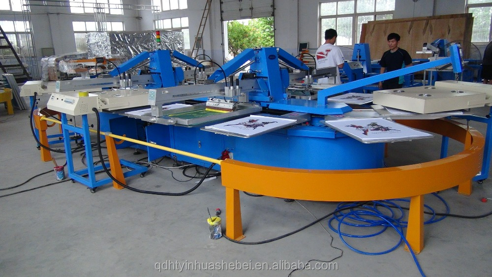Oval Multicolor Carousel Textile T shirt Automatic Silk Screen Printing Machine For Sale