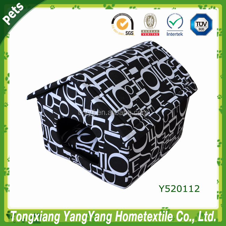 YANGYANG Hot Sale New Design Pet Product Printing Canvas Dog House, Black White, Foam Dog House Bed