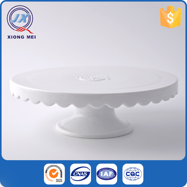 High quality embossed decorative round ceramic cake stands