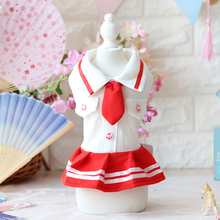 High Quality Navy Tie Style Pleated Skirt Dog Clothes Dress