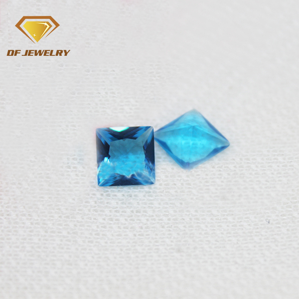 5*5 mm square princess topaz cut ocean blue color glass loose crystal stone