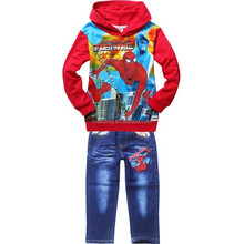 Spring/Autumn Cool Spiderman 2pcs Clothing Set,Children clothes ,Kids casual suit TS-240