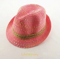 fashion custom kids baby children mix color Panama Fedora straw hat summer beach sun hat with ribbon