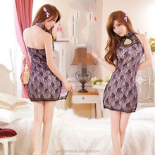 Transparent Lace Hollow-out Gauze Classical Cheongsam Dress Sexy Female Lingerie
