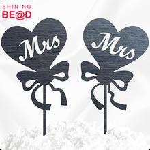 Personalized Laser cut Acrylic Wedding cake topper 2 Hearts With Bowknot For Bride and Bride