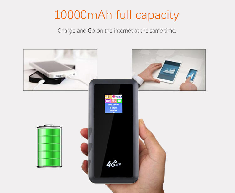 10000mAh 4g lte router wireless wifi router with power bank