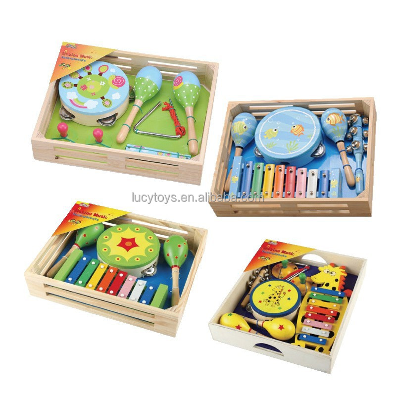 Musical Instruments Toy Sets in Wooden Box Mucis Toy KIts