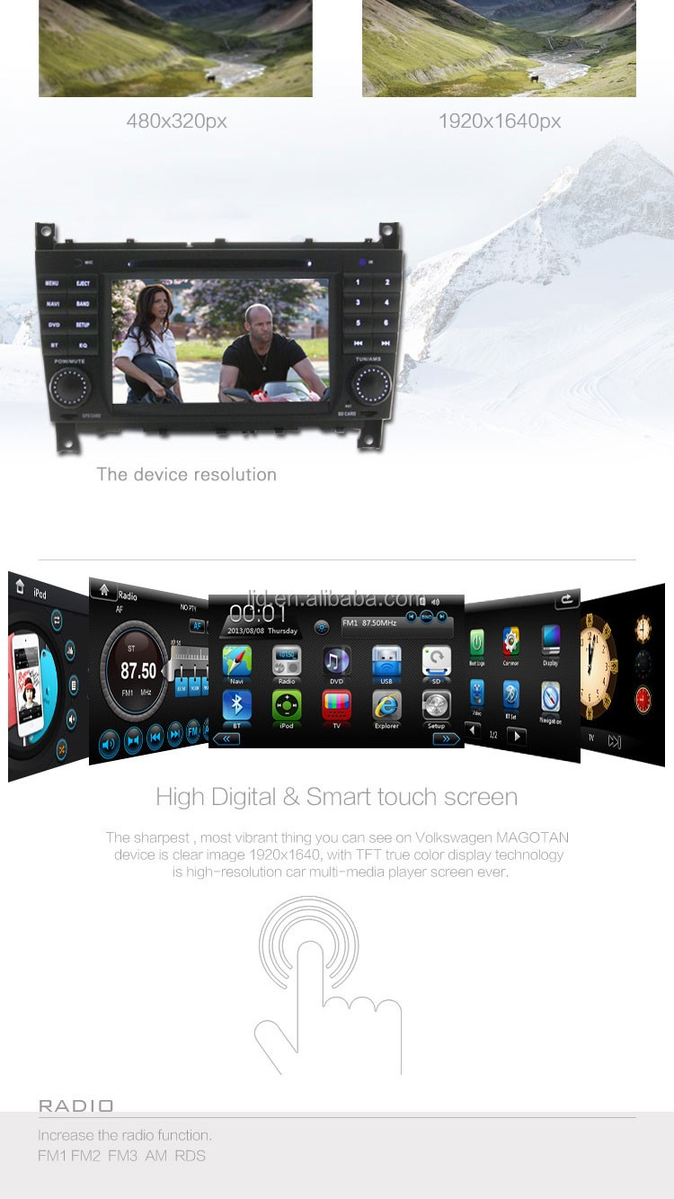 car dvd player gps navigation systerm for mercedes w203 steering wheel control with bluetooth