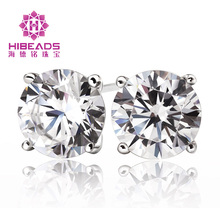 Authentic 925 Sterling Silver 5mm Shinning Cubic Zirconia Earrings Jewelry for Fashion Women Girls earrings