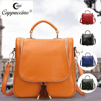 Fashion women Retro 4 Functions Real Calf Leather Handle laptop Shoulder school Backpack Bag for high school girls