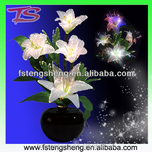 Color Changing Fiber Optic White Lily Flower Lamp