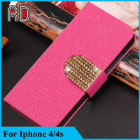 Cell Phone Leather Cases for iPhone4S,For iPhone 4S Flip Cover Case with bling diamond
