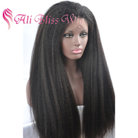 180% Density Mongolian Kinky Straight Ponytail Brazilian Virgin Human Hair Italian Yaki Lace Front Wig for Black Women