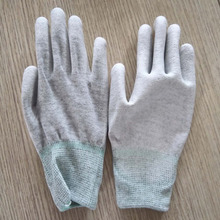 carbon fiber PU coated ESD antistatic palm fit gloves