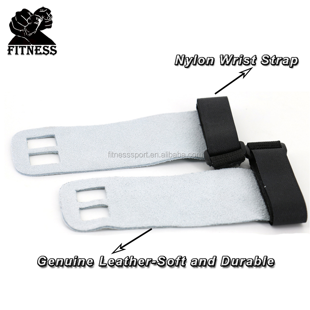 Leather Hand Grip with Wide Wrist Wrap Perfect for Pull-up Training, Kettlebell and Barbell Training,Weightlifting