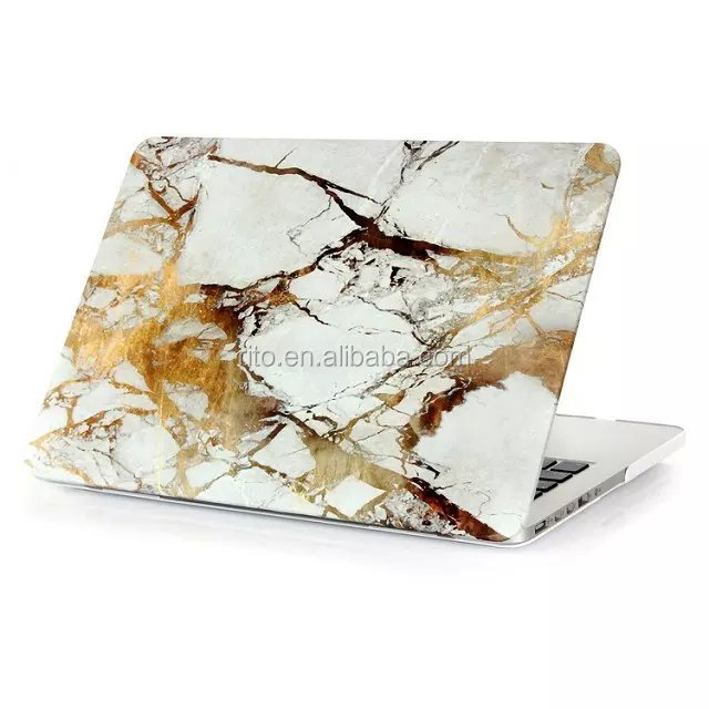 "White with Gold Vein Marble Pattern Rubberized Coating Case for Mac Pro 13"" Retina"