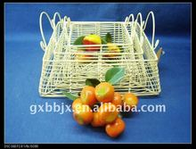 Rectangle metal wire storage fruit trays with ear handle
