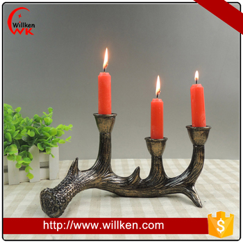 Home decoration resinic deer antler candle houlder for sale