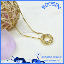 Gold Glittering Disc Pendant Necklace 14145