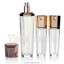 Beauty 30ml transparent crystal diamond shaped acrylic plastic cosmetic empty container airless bottle with pump dispenser 100