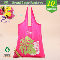 cheap recycled custom foldable 190t 210d waterproof drawstring shopping tote polyester bag