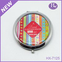HX-7125 Round paper owl metal makeup mirrors with lights